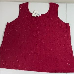 Charter club silk knit beaded tank top NWT